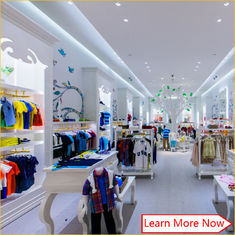 China Customized nice design fashion white wooden kids clothing store interior design,kids baby shop design decoration fabriek