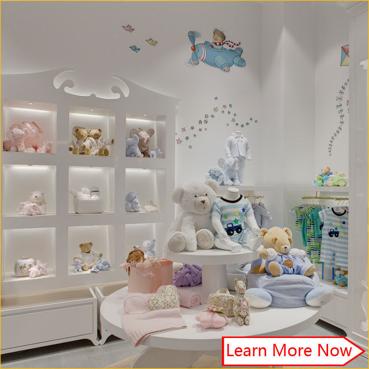 High end fashion wooden white painting kids clothing stores baby girl clothes leverancier